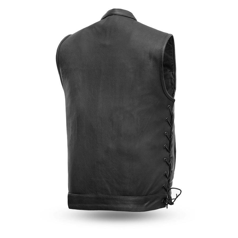 First Manufacturing Men's Sniper Leather Vest, Size S-4XL, Black