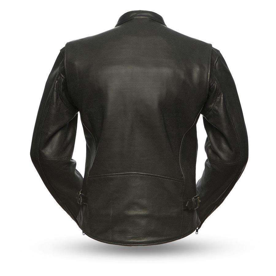 First Manufacturing Turbine Perforated Black Leather Motorcycle Jacket
