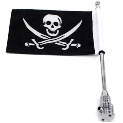 "Skull & Swords Pirate Motorcycle Pole Mount 15.3"" & Flag 10.6"" x 6.7"", Black/White"