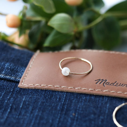 Moonstone Poppy Ring