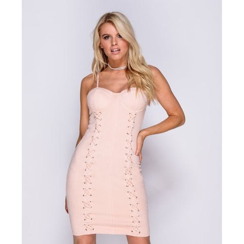 Corset Style Lace Up Detail Bodycon Dress