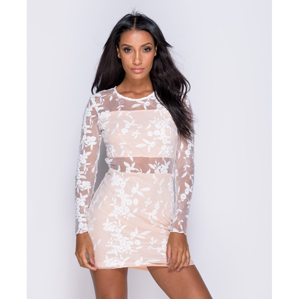 Floral Mesh Sheer Panel Bodycon Dress
