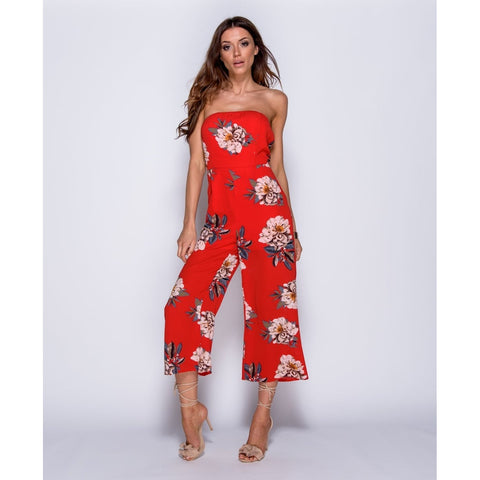 Red Floral Print Strapless Jumpsuit