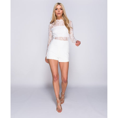 Lace Panel Long Sleeve Playsuit