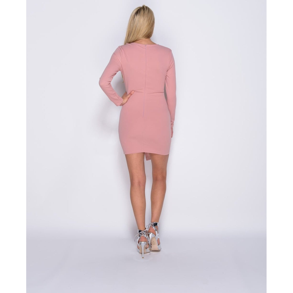 Rose Pink Lace Up Detail Bodycon Mini Dress