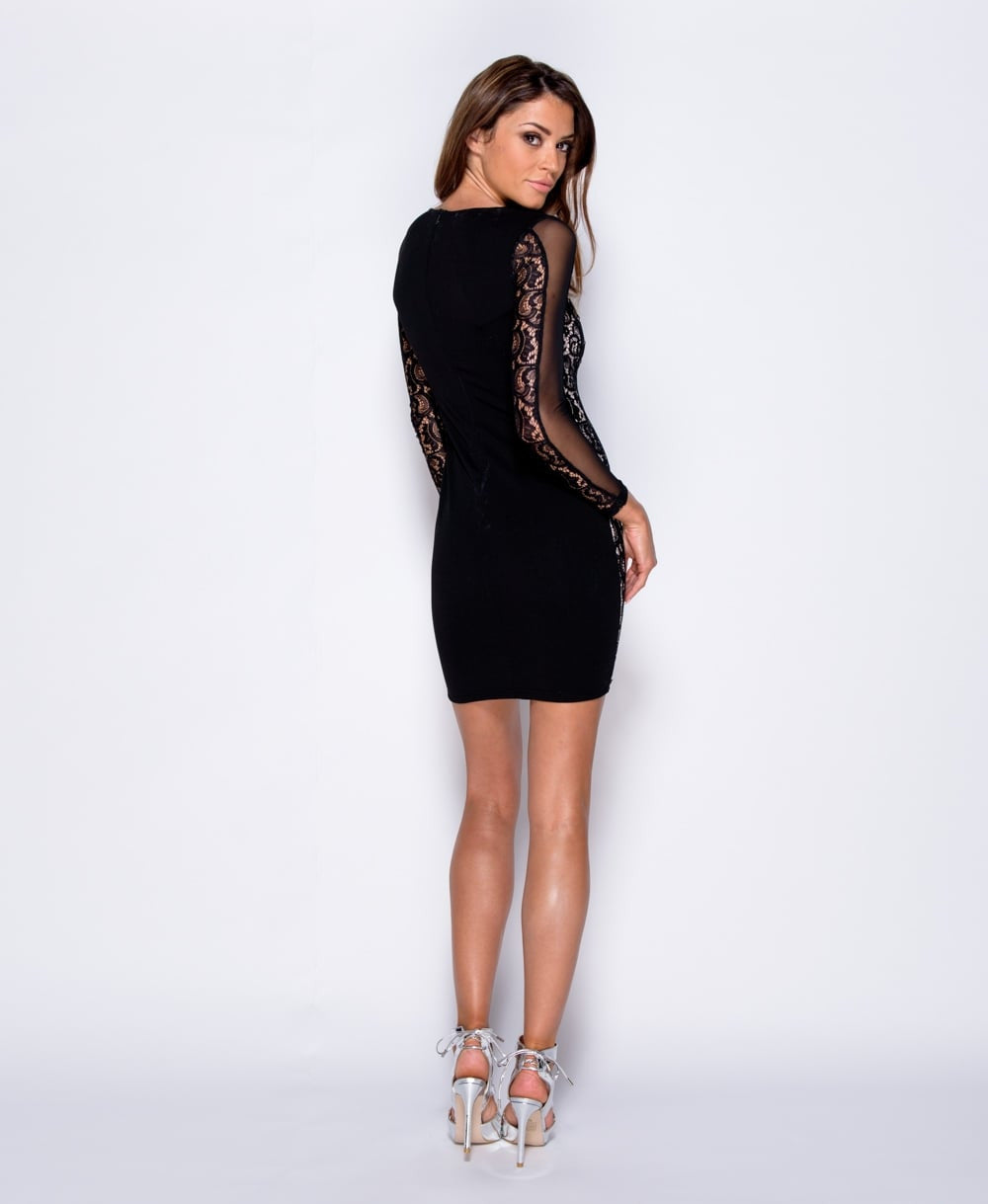 Lace Up Detail Panelled Bodycon Mini Dress