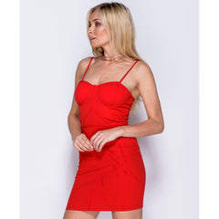 Panel Detail Strappy Bodycon Dress
