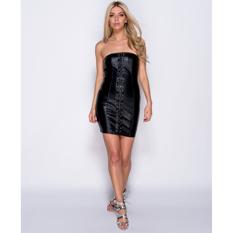 PU Lace Up Front Strapless Bodycon Dress