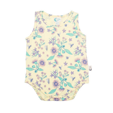 Organic Cotton Baby bodysuit Floral Bee Print - moonjelly-Rompers-Mini Wardrobe Boutique Kidswear Online