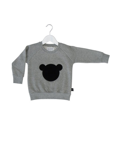 Huxbaby shadow bear patch fleece sweatshirt - Huxbaby-Tops-Mini Wardrobe Boutique Kidswear Online