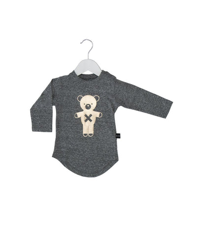 Huxbaby soldier bear long sleeve t-shirt grey - Huxbaby-Tops-Mini Wardrobe Boutique Kidswear Online