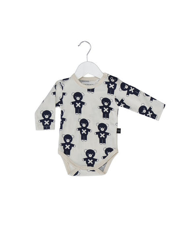 Huxbaby soldier bears long sleeves onesie in dew/indigo - Huxbaby-Rompers-Mini Wardrobe Boutique Kidswear Online