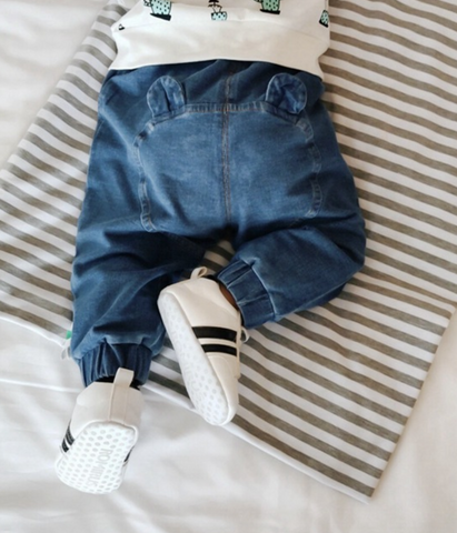 Bear ears Denim pants - miniwardrobe-pants-Mini Wardrobe Boutique Kidswear Online