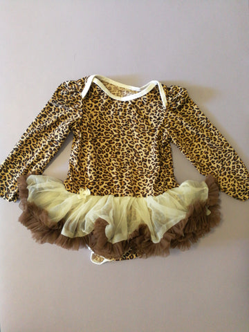 Leopard long sleeves tutu romper