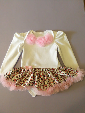 Pink leopard long sleeves tutu - miniwardrobe-tutu romper-Mini Wardrobe Boutique Kidswear Online
