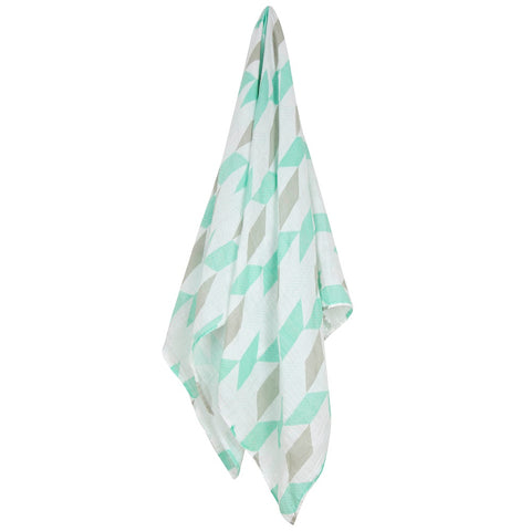 weegoamigo Printed Baby Muslin wrap - Herringbone Teal - Mini Wardrobe Kidswear-Accessories-Mini Wardrobe Boutique Kidswear Online