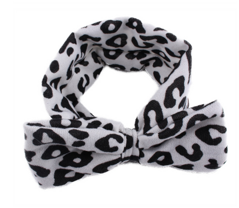 Headbands leopard bow -black and white - miniwardrobe-headbands-Mini Wardrobe Boutique Kidswear Online