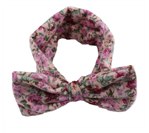 Headbands floral bow - beige - miniwardrobe-headbands-Mini Wardrobe Boutique Kidswear Online