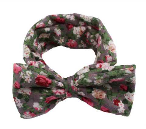 Headbands floral bow - Grey - miniwardrobe-headbands-Mini Wardrobe Boutique Kidswear Online