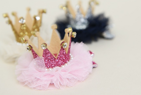 Sparkly Crown on tutu hair clip - miniwardrobe-Accessories-Mini Wardrobe Boutique Kidswear Online