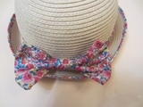 Pink floral ribbon summer hat - miniwardrobe-Hat-Mini Wardrobe Boutique Kidswear Online