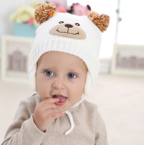 Bear blush face beanie - miniwardrobe-Hat-Mini Wardrobe Boutique Kidswear Online