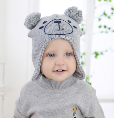 Bear face fluff ball beanie - miniwardrobe-Hat-Mini Wardrobe Boutique Kidswear Online