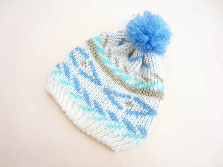 Blue Snow Beanie - miniwardrobe-Hat-Mini Wardrobe Boutique Kidswear Online