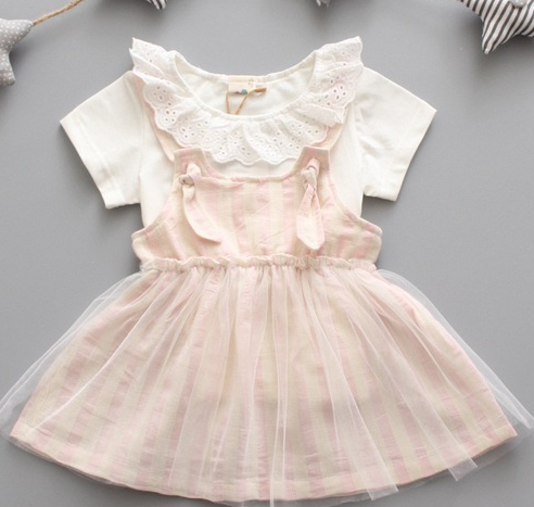 Stripe linen dress set - miniwardrobe-Outfit set-Mini Wardrobe Boutique Kidswear Online
