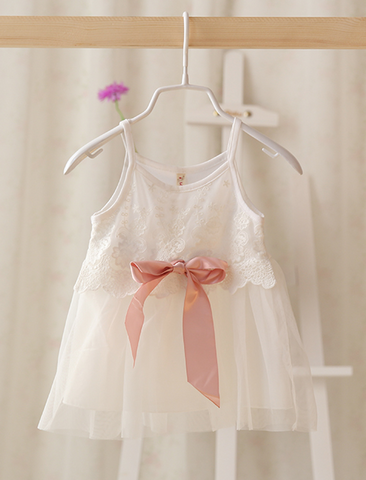 Lace Tulle dress with ribbon white - miniwardrobe-Dresses-Mini Wardrobe Boutique Kidswear Online
