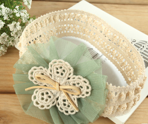 Thick Lace flower headband - Green - miniwardrobe-headbands-Mini Wardrobe Boutique Kidswear Online