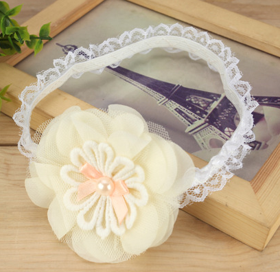 Lace flower headband - ivory - miniwardrobe-headbands-Mini Wardrobe Boutique Kidswear Online