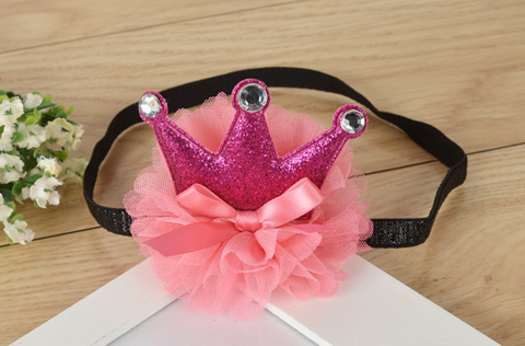 Crown on tutu headband - Pink - miniwardrobe-headbands-Mini Wardrobe Boutique Kidswear Online