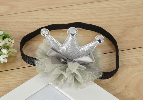 Crown on tutu headband - Silver - miniwardrobe-headbands-Mini Wardrobe Boutique Kidswear Online