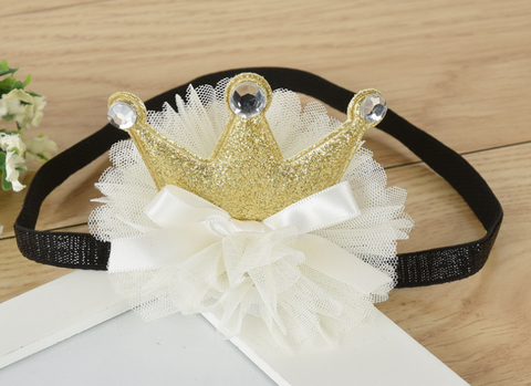 Crown on tutu headband - Gold - miniwardrobe-headbands-Mini Wardrobe Boutique Kidswear Online