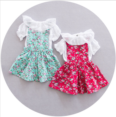 Floral 2 pcs dress - miniwardrobe-Dress-Mini Wardrobe Boutique Kidswear Online
