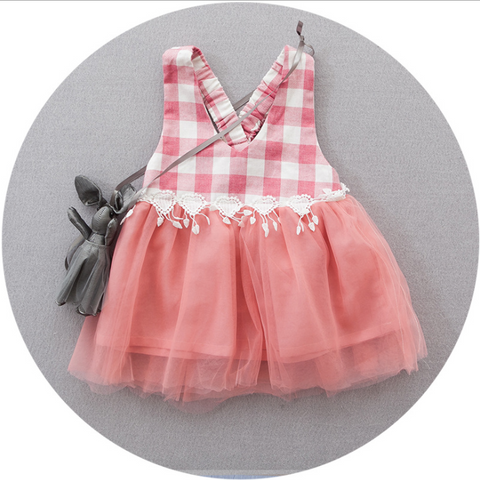 Checked sleeveless tulle - miniwardrobe-Dresses-Mini Wardrobe Boutique Kidswear Online