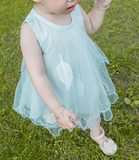 Mint feather dress - miniwardrobe-Dress-Mini Wardrobe Boutique Kidswear Online