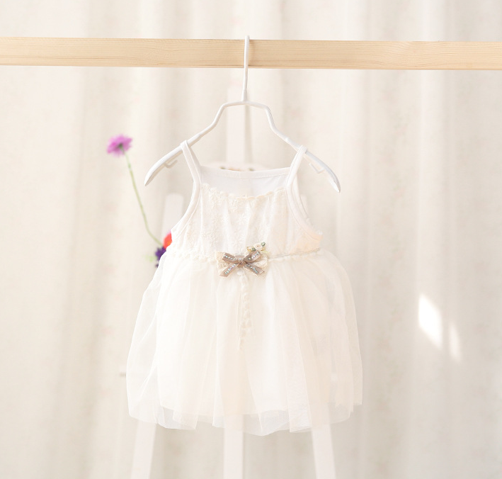 Lace tulle dress with golden bow - miniwardrobe-Dress-Mini Wardrobe Boutique Kidswear Online