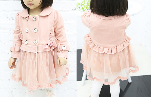 Lace bottom trench - miniwardrobe-Outerwear-Mini Wardrobe Boutique Kidswear Online