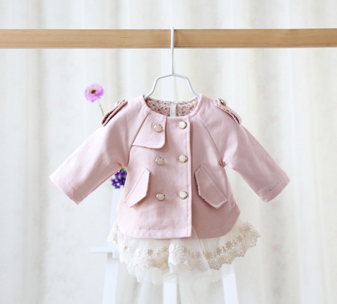 lace bottom baby pink coat - miniwardrobe-Jacket-Mini Wardrobe Boutique Kidswear Online