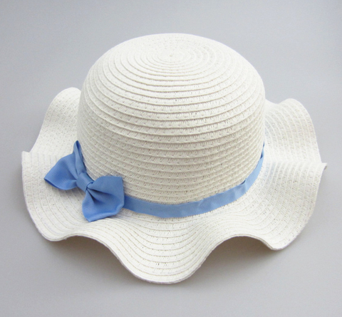 blue bow wave hat