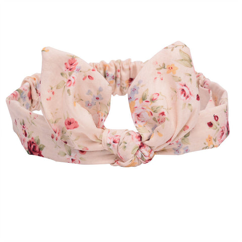 Headbands bunny ear floral cream - miniwardrobe-headbands-Mini Wardrobe Boutique Kidswear Online