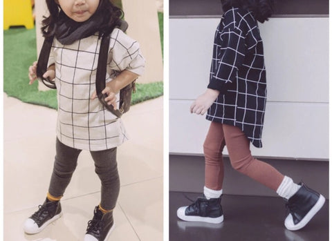 Checked long tee - miniwardrobe-Tops-Mini Wardrobe Boutique Kidswear Online