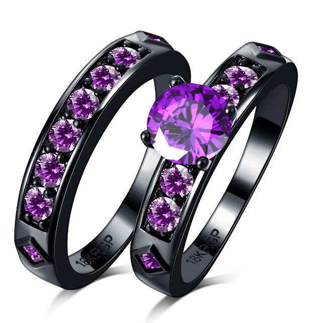 PURPLE GEMSTONE COUPLE RING PGCR Awareness-alert U.S. Ring Size 6