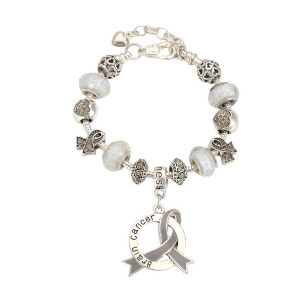 2019 Brain Cancer Awareness Luxury Charm Bracelet brainlcb Awareness-alert