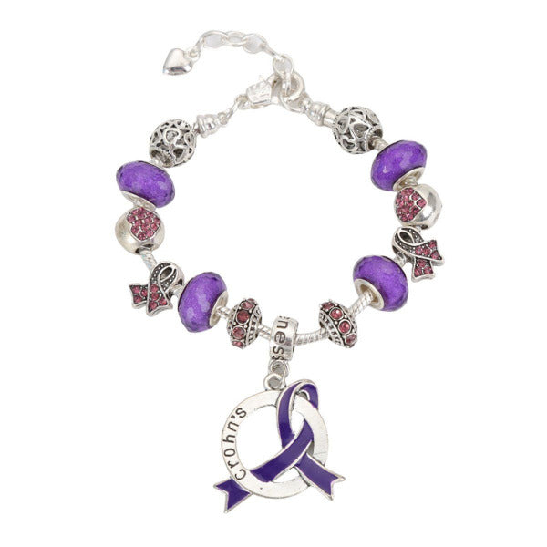 2019 Crohn's Awareness Luxury Charm Bracelet crohnslcb Awareness-alert