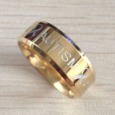 Premium Gold Autism Ring AU1 Awareness-alert 6