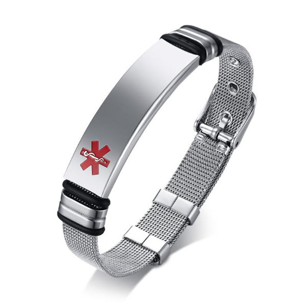 Engrave-Able Adjustable Medical Alert Bracelet BR522_1 Awareness-alert Silver