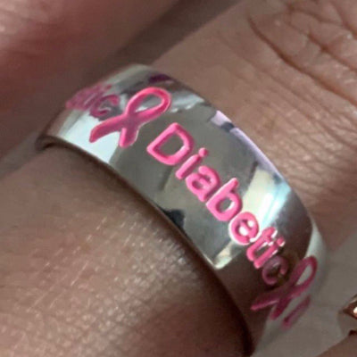 Pink Diabetic Ring D2 Awareness-alert 6